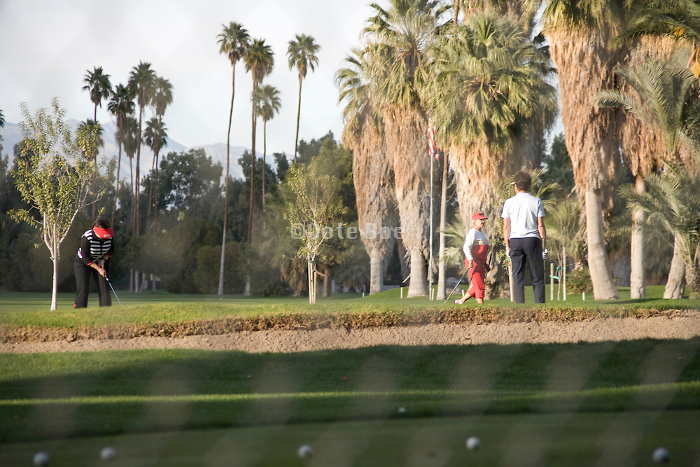 view from behind a fence of a group of people playing golf