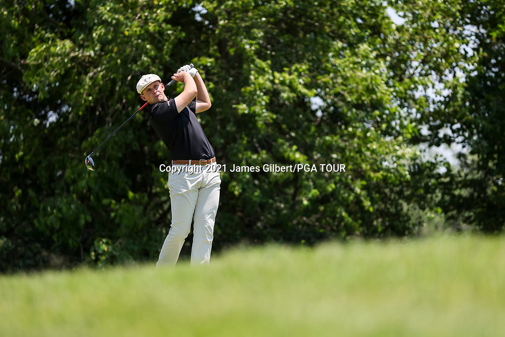 WICHITA, KS - JUNE 20: Harry Hall of England plays his shot from the 12th hole during the final round of the Wichita Open Benefitting KU Wichita Pediatrics at Crestview Country Club on June 20, 2021 in Wichita, Kansas. (Photo by James Gilbert/PGA TOUR via Getty Images)
