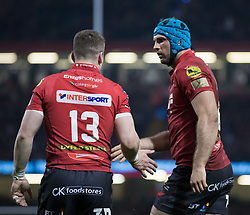 Scarlets' Tadhg Beirne celebrates scoring his sides third try<br /> <br /> Photographer Simon King/Replay Images<br /> <br /> Guinness PRO14 Round 21 - Dragons v Scarlets - Saturday 28th April 2018 - Principality Stadium - Cardiff<br /> <br /> World Copyright © Replay Images . All rights reserved. info@replayimages.co.uk - http://replayimages.co.uk