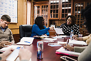 SELMA, AL – DECEMBER 19, 2019: Keshee Dozier-Smith (right), 34, leads a staff meeting at the Rural Health Medical Program office.<br /> <br /> Since joining Rural Health Medical Program as Chief Executive Officer in March 2016, Dozier-Smith has effectively moderned the 35-year-old floundering business – opening three new clinics, streamlining processes and reaching out to local companies to offer healthcare services for employees. In the wake of rising hospital closures that leave Alabama's poorest citizens disproportionately cut off from access to medical care, Dozier-Smith represents a renewed effort to bridge the rural gap by offering a quality, affordable healthcare option.
