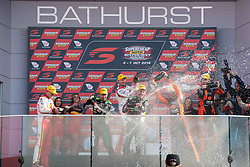 October 7, 2018 - Bathurst, NSW, U.S. - BATHURST, NSW - OCTOBER 07: The podium third place Scott McLaughlin / Alexandre Premat in the Shell V-Power Racing Team Ford Falcon, second Scott Pye / Warren Luff in the Mobil 1 Boost Mobile Racing Holden Commodore and race winner Craig Lowndes / Steven Richards in the Autobarn Lowndes Racing Holden Commodore at the Supercheap Auto Bathurst 1000 V8 Supercar Race at Mount Panorama Circuit in Bathurst, Australia. (Photo by Speed Media/Icon Sportswire) (Credit Image: © Speed Media/Icon SMI via ZUMA Press)