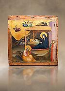"""Gothic painted panel of the Nativity scene by Taddeo Gabbi of Florence, circa 1325, tempera and gold leaf on wood. National Museum of Catalan Art, Barcelona, Spain, inv no: MNAC 212807. Against a art background. <br /> Taddeo Gabbi, one of Giotto's most brilliant disciples, painted this Nativity when he was still part of Giotto's workshop. The painting has many of Giotto's hallmarks such as  spatial illusionism or the reality of figures that can be seen in the nativity of the Peruzzi Chapel.<br /> <br /> SPANISH<br /> <br /> Taddeo Gabbi, uno de los discipulos mas brillantes de Giotto, debio pintar esta Natividad cuando aun formaba parte del taller del maestro. En ella se ven las conquistas de la """"revolucion giottesca"""", como el illusioismo espacial o el realismo de las figuras. Maria arropa a Jesus dentro del establo, mientras los sobrevuela un grupo de angeles. La posicion de uno de ellos y la presencia de una oveja indican que la composicion se completaba a la izquierda con el Anuncio a los pastores. En primer termino aparecen un pensativo Jose y las dos parteras que susurran, un recurso ya utilizado pr Giotto en los frescos de la Capilla Peruzzi..<br /> <br /> If you prefer you can also buy from our ALAMY PHOTO LIBRARY  Collection visit : https://www.alamy.com/portfolio/paul-williams-funkystock/romanesque-art-antiquities.html<br /> Type -     MNAC     - into the LOWER SEARCH WITHIN GALLERY box. Refine search by adding background colour, place, subject etc<br /> <br /> Visit our ROMANESQUE ART PHOTO COLLECTION for more   photos  to download or buy as prints https://funkystock.photoshelter.com/gallery-collection/Medieval-Romanesque-Art-Antiquities-Historic-Sites-Pictures-Images-of/C0000uYGQT94tY_Y"""
