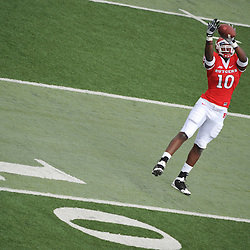 Oct 10, 2009; Piscataway, NJ, USA; Rutgers tight end D.C. Jefferson (10) makes a catch while warming up for NCAA college football between Rutgers and Texas Southern at Rutgers Stadium.