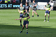Ross Byrne of Leinster © shows his delight as he celebrates after he kicks a late drop goal to win the match. Guinness Pro12 rugby match, Ospreys v Leinster Rugby at the Liberty Stadium in Swansea, South Wales on Saturday 8th April 2017. <br /> pic by Andrew Orchard, Andrew Orchard sports photography.