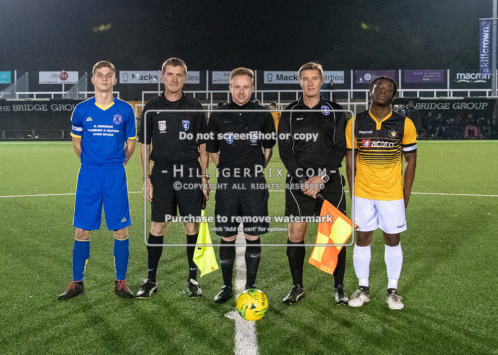 BROMLEY, UK - OCTOBER 17: Match officials and captains before the FA Youth Cup 3rd Round Qualifier match (31) between Cray Wanderers and Raynes Park Vale at Hayes Lane on October 17, 2018 in Bromley, UK. (Photo: Jon Hilliger)
