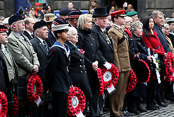 Members of the armed forces community take part in a ceremony at the Stone of Remembrance at the City Chambers, Edinburgh, on the 100th anniversary of the signing of the Armistice which marked the end of the First World War.