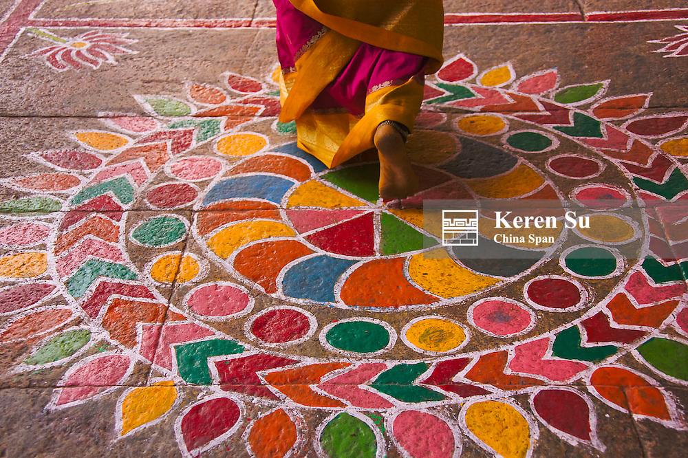 Hindu Mandala paintings, Meenakshi Amman Temple complex, Madurai, Tamil Nadu State, India