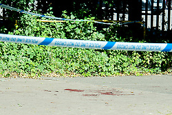 © Licensed to London News Pictures. 22/06/2018. Chelmsford, UK. Blood on the floor at the scene where a man has died after being found with severe injuries on Cromar Way, Chelmsford, Essex. A murder investigation has been launched. Photo credit: Simon Ford/LNP