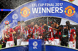 Manchester United players celebrate lifting the EFL Cup  - Mandatory by-line: Matt McNulty/JMP - 26/02/2017 - FOOTBALL - Wembley Stadium - London, England - Manchester United v Southampton - EFL Cup Final