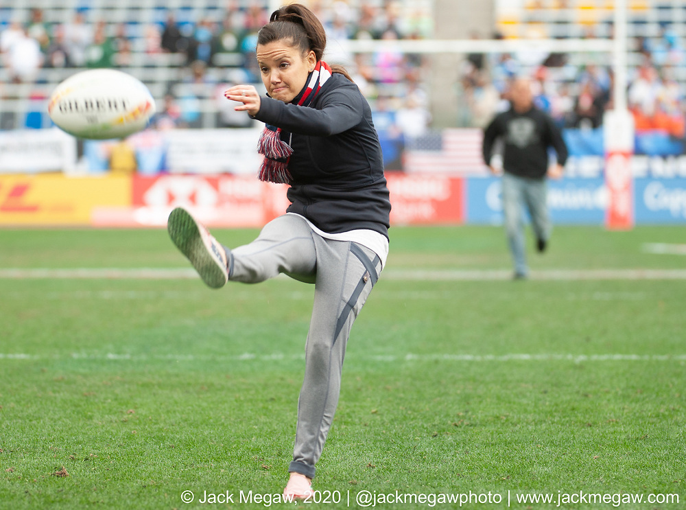 Fans compete to win free Fiji Airlines tickets at the 2020 Los Angeles Sevens at Dignity Sports Health Park in Los Angeles, California. March 1, 2019. <br /> <br /> © Jack Megaw, 2020