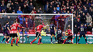 Billy Sharp of Sheffield Utd scores the first goal during the Premier League match at Bramall Lane, Sheffield. Picture date: 9th February 2020. Picture credit should read: Simon Bellis/Sportimage