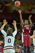 March 18, 2016; Tempe, Ariz;  New Mexico State Aggies guard Moriah Mack (35) shoots a jumper during a game between No. 2 Arizona State Sun Devils and No. 15 New Mexico State Aggies in the first round of the 2016 NCAA Division I Women's Basketball Championship in Tempe, Ariz. The Sun Devils defeated the Aggies 74-52.