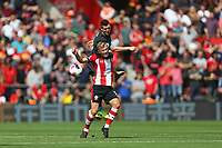 Football - 2019 / 2020 Premier League - Southampton vs. Liverpool<br /> <br /> James Milner of Liverpool and Southampton's James Ward-Prowse clash heads during the Premier League match at St Mary's Stadium Southampton <br /> <br /> COLORSPORT/SHAUN BOGGUST
