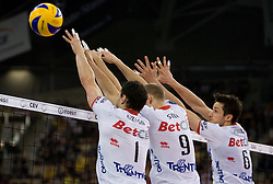 Matey Kaziyski, Andrea Sala and Lukasz Zygadlo of Trentino at 2nd Semifinal match of CEV Indesit Champions League FINAL FOUR tournament between ACH Volley, Bled, SLO and Trentino BetClic Volley, ITA, on May 1, 2010, at Arena Atlas, Lodz, Poland. Trentino defeated ACH 3-1. (Photo by Vid Ponikvar / Sportida)