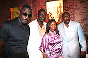 """I to r: Idris Elba, Brian Mcknight, Crystal Worthem and Steve Harvey at """" Lincoln After Dark """" sponsored by Lincoln Motors and hosted by Idris Elba and Steve Harvey and music by Biz Markie during the 2009 Essence Music Festival and held at The Contemporary Arts Center in New Orleans on July 4, 2009"""