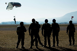 Slovenian army Special Forces training of parachuting, on March 10, 2015 in Airport Lesce, Slovenia. Photo by Vid Ponikvar / Sportida