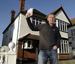 """© Licensed to London News Pictures. 06/01/2012.Bromley man Graham King has decided to give away his house  in a Prize Property Competition. Frustrated after months of being unable to sell his family home because of the current economic climate,  Graham and wife Pamela from Cromwell Avenue in Bromley have set up a website (www.prizeproperty.co.uk) so that people can view the property and purchase tickets for the competition at £30.00 each, people will have to answer three questions about Bromley to enter. The competition which is due to start this week will run until June 26 2012..Mr King needs to sell 25.000 tickets for the prize draw to go ahead. If few than 23,400 tickets are sold a cash prize will be given to the winner instead. Mr King a Business Consultant said """"The biggest challenge will be to sell enough ticket""""..Weather Photo credit : Grant Falvey/LNP"""
