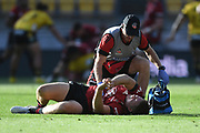 Crusaders Jack Goodhue in the Super Rugby match, Hurricanes v Crusaders, Sky Stadium, Wellington, Sunday, April 11, 2021. Copyright photo: Kerry Marshall / www.photosport.nz