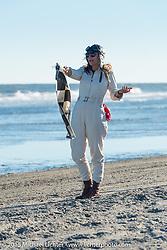 Jessi Combs as starter at The Race of Gentlemen. Wildwood, NJ, USA. October 11, 2015.  Photography ©2015 Michael Lichter.
