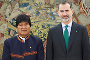031618 King Felipe VI attends a meeting with Evo Morales