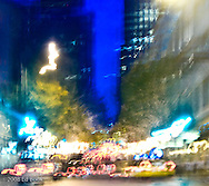 abstract motion of night traffic in downtown Seattle, Washington, USA