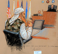 OCTOBER 17, 2012 GUANTANAMO BAY, CUBA.In the third day of 9/11 pretrial hearings, KSM was escorted in at first break wearing a camoflauge vest. Judge Pohl presiding and security officer on his left. Pentagon-approved sketch by Janet Hamlin..