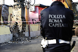 Italy, Rome - November 21, 2018 .Anti Mafia police operation.Eight luxury villas illegally built in Rome by alleged mobsters clan Casamonicas are demolished. .The operation on the east side of the Italian capital was 10 months in the planning, involved 600 municipal police and begin in the presence of Mayor of Rome. The Casamonica family has been associated with crime in the south-eastern quarters of Rome for several decades. (Credit Image: © Zucchi/Insidefoto/Ropi via ZUMA Press)