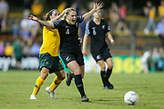 CJ Bott takes exception to some heavy defence during the Cup of Nations Women's Football match, New Zealand Football Ferns v Matildas, Leichhardt Oval, Thursday 28th Feb 2019. Copyright Photo: David Neilson / www.photosport.nz