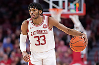 FAYETTEVILLE, AR - MARCH 4:  Jimmy Whitt Jr. #33 of the Arkansas Razorbacks runs the offense during a game against the LSU Tigers at Bud Walton Arena on March 4, 2020 in Fayetteville, Arkansas.  The Razorbacks defeated the Tigers 99-90.  (Photo by Wesley Hitt/Getty Images) *** Local Caption *** Jimmy Whitt Jr.