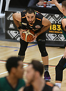 Taylor Hawks Ethan Rusbatch in the Sal's Pizza NBL Round 8 match, Hawkes Bay Hawks vs Auckland Rangers, Pettigrew Green Arena, Napier, Saturday, June 16, 2018. Copyright photo: Kerry Marshall / www.photosport.nz
