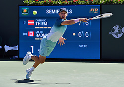 March 16, 2019 - Indian Wells, CA, U.S. - INDIAN WELLS, CA - MARCH 15: Dominic Thiem (AUT) dives for but misses a serve in the second set of a semifinals match played during the BNP Paribas Open at the Indian Wells Tennis Garden in Indian Wells, CA.  (Photo by John Cordes/Icon Sportswire) (Credit Image: © John Cordes/Icon SMI via ZUMA Press)