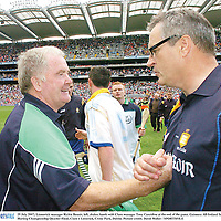 29 July 2007; Liomerick manager Richie Bennis, left, shakes hands with Clare manager Tony Considine at the end of the game. Guinness All-Ireland Senior Hurling Championship Quarter-Final, Clare v Limerick, Croke Park, Dublin. Picture credit; David Maher / SPORTSFILE