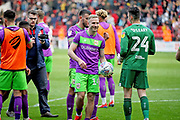 Bristol City forward Andreas Weimann (14) celebrates in from of the City fans with the match ball after the EFL Sky Bet Championship match between Sheffield United and Bristol City at Bramall Lane, Sheffield, England on 30 March 2019.