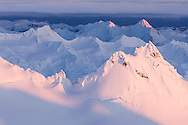 The rugged peaks of the Kenai Mountain Range as viewed during a flightsee adventure with Homer Air based in Homer, Alaska.