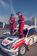 Podium - Neal Bates & Coral Taylor - Toyota Corolla WRC - Saxon Safari Tasmania - ARC- 11th-12th September 1999