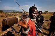 Jie warriors in their village in Jonglei state, Southern Sudan.