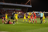 PENALTY Referee Tim Robinson points to the spot in the 97th minute of the EFL Sky Bet League 2 match between Crawley Town and Walsall at The People's Pension Stadium, Crawley, England on 16 March 2021.