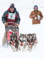 Keith Bryar of Moultonboro leads his dogs out onto the course for the John H. Lyman Memorial Open Class Sunday afternoon claiming first place for the 82nd annual Laconia World Championship Sled Dog Derby.   (Karen Bobotas/for the Laconia Daily Sun)