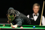 Ronnie O'Sullivan in action during the final match against Neil Robertson. Betvictor Welsh Open snooker 2016, Final day at the Motorpoint Arena in Cardiff, South Wales on Sunday 21st  Feb 2016.  <br /> pic by Andrew Orchard, Andrew Orchard sports photography.