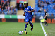 Junior Hoilett  of Cardiff City in action.EFL Skybet championship match, Cardiff city v Derby County at the Cardiff city stadium in Cardiff, South Wales on Saturday 30th September 2017.<br /> pic by Andrew Orchard, Andrew Orchard sports photography.