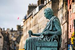 Statue of David Hume philosopher on Royal Mile in Edinburgh, Scotland, UK
