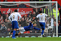 Sulley Muntari Scores winning goal from the Penalty Spot past Manchester United's Rio Ferdinand<br /> Portsmouth 2007/08<br /> Manchester United V Portsmouth (0-1) 08/03/08<br /> The FA Cup 6th Round<br /> Photo Robin Parker Fotosports International