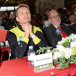 March 20, 2018 - Shanghai, Shanghai, China - Shanghai, CHINA-20th March 2018: German football player Michael Ballack and table tennis player Werner Schlager attend a promotional event in Shanghai, March 20th, 2018. (Credit Image: © SIPA Asia via ZUMA Wire)