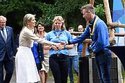 Koningin Maxima bezoekt scoutinggroep Hubertus Brandaan in Voorburg. De vorstin is hier voor een bijeenkomst van de organisatie van Roverway 2018, een internationaal evenement voor scouts tussen de 16 en 22 jaar uit Europa.<br /> <br /> Queen Maxima visits scouting group Hubertus Brandaan in Voorburg. The queen is here for a meeting of the organization of Roverway 2018, an international event for scouts between 16 and 22 years from Europe.