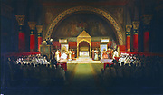 Meeting of the Chapter of the Knights Templar under Robert de Bouguignon, held in Paris in presence of Louis VII and Pope Eugene III, 22 April 1147.  Francois Marius Granet (1795-1849) French historical painter. Chateaux de Versailles et de Trianon.