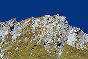 Detail of a peak in the Matukituki Valley, in Mount Aspiring National Park.