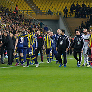 Fenerbahce's goalkeeper Volkan Demirel (R) during their Turkish superleague soccer derby Fenerbahce between Besiktas at the Sukru Saracaoglu stadium in Istanbul Turkey on Sunday 22 March 2015. Photo by Aykut AKICI/TURKPIX