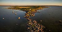 Panoramic aerial view of the edge of island Vormsi at sunset in Estonia.