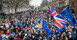 © Licensed to London News Pictures. 23/03/2019. London, UK. Thousands of demonstrators fill Whitehall as they take part in the 'Put It To The People march' through central London. The People's Vote Campaign are calling for a second referendum on the United Kingdom's membership of the European Union. Photo credit: Peter Macdiarmid/LNP