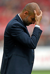 Football: Germany, 1. Bundesliga, SC Freiburg - FC Bayern Muenchen, Freiburg - 16.05.2015,<br /> Trainer Pep Guardiola (Bayern Muenchen) dejected.<br /> <br /> © pixathlon<br /> <br /> +++ NED out !!! +++